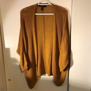 Brown Orange Knit Short Sleeve Cardigan